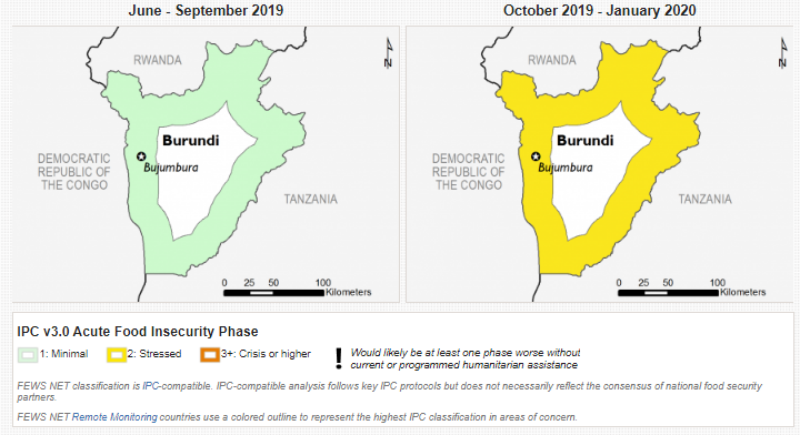 Current and projected food security outcomes, September 2018 (left) and October 2018 - January 2019 (right)
