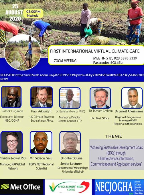 The Network of Climate Journalists of the Greater Horn of Africa (NECJOGHA) is inviting you to the online climate café meeting.
